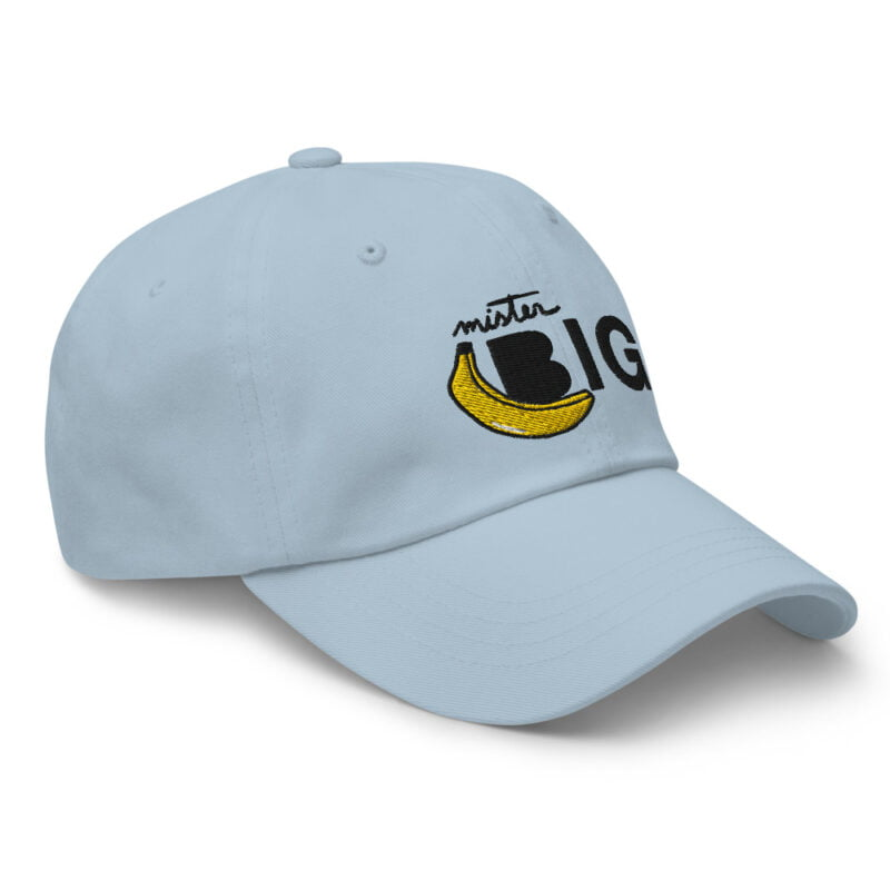 """Cap with a sexy embroidery. It represents a banana and the text """"Mister Big"""". Cap - LGBTQ+ Gay Pride Apparel - classic dad hat light blue right front 60af53de5b8ef"""