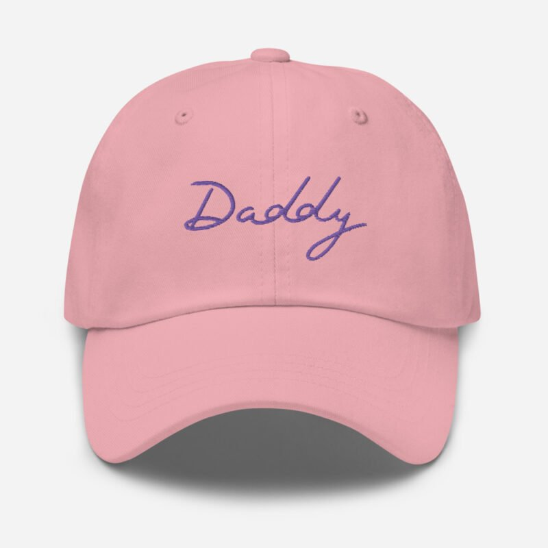 Dad hat with a large embroidery. The word Daddy is embroidered. The color of the embroidery may depend of the hat's color. Cap - LGBTQ+ Gay Pride Apparel - classic dad hat pink front 60a2bc86876f8