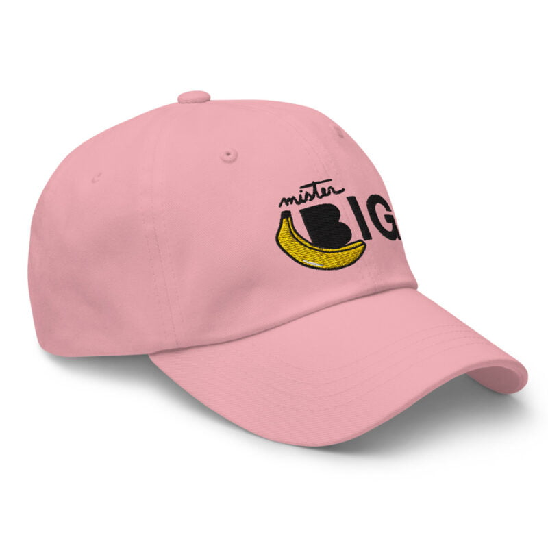 """Cap with a sexy embroidery. It represents a banana and the text """"Mister Big"""". Cap - LGBTQ+ Gay Pride Apparel - classic dad hat pink right front 60af53de5bcd9"""
