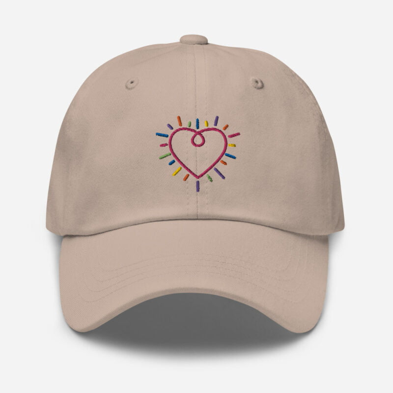 Dad hat with a heart embroidered. The heart is made from the 6 colors of the LGBT flag. Cap - LGBTQ+ Gay Pride Apparel - classic dad hat stone front 60a2bc34c2c8f