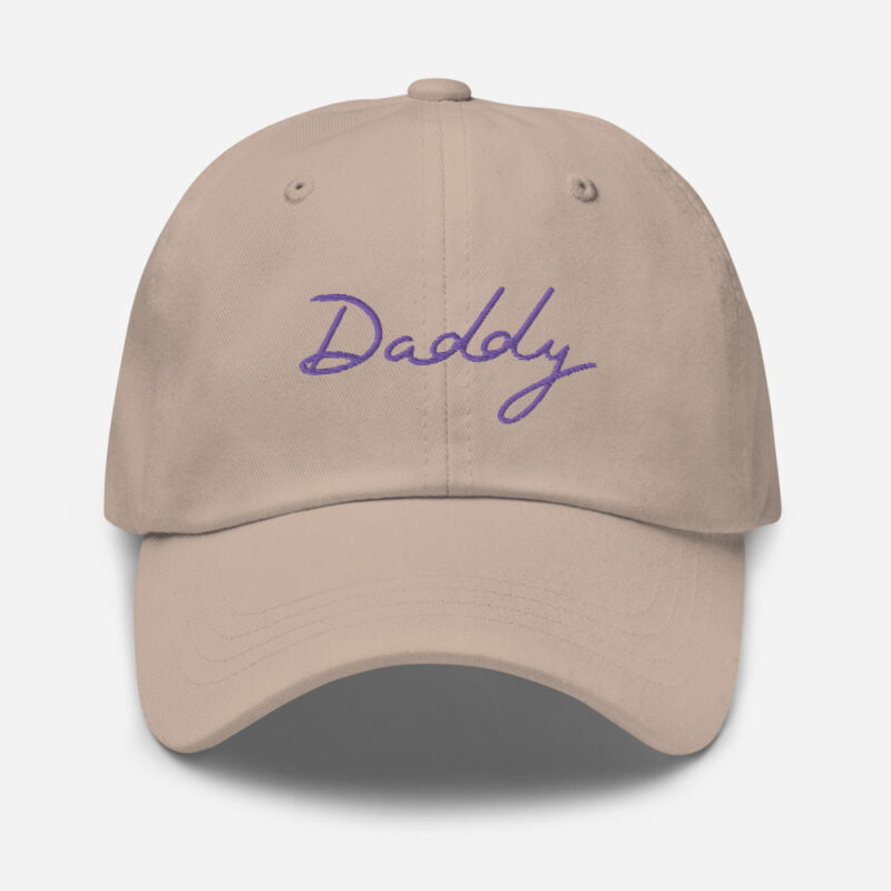 Dad hat with a large embroidery. The word Daddy is embroidered. The color of the embroidery may depend of the hat's color. Cap - LGBTQ+ Gay Pride Apparel - classic dad hat stone front 60a2bc8687ad2