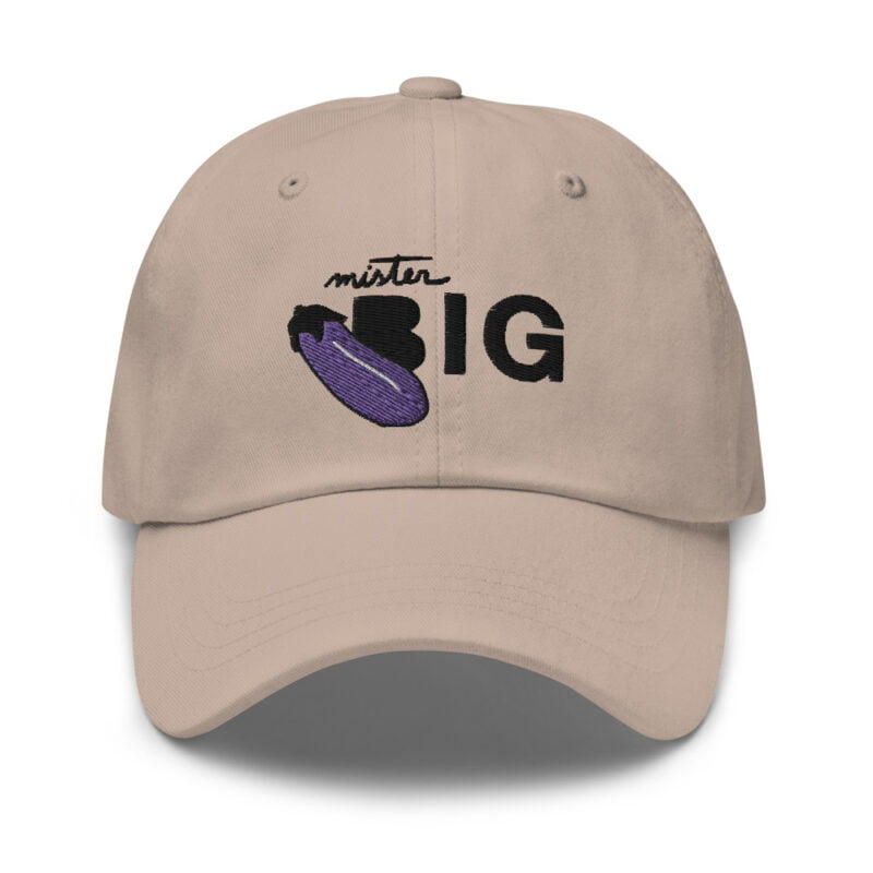 """Cap with a sexy embroidery. It represents an eggplant and the text """"Mister BIG"""". Cap - LGBTQ+ Gay Pride Apparel - classic dad hat stone front 60af53a6d1476"""