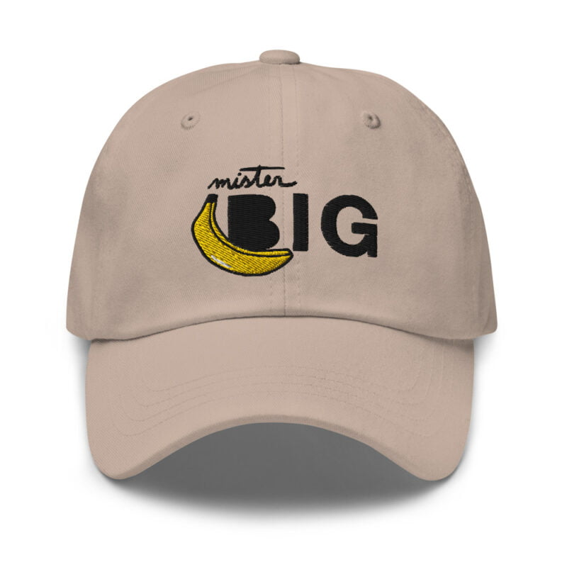 """Cap with a sexy embroidery. It represents a banana and the text """"Mister Big"""". Cap - LGBTQ+ Gay Pride Apparel - classic dad hat stone front 60af53de5bfc7"""