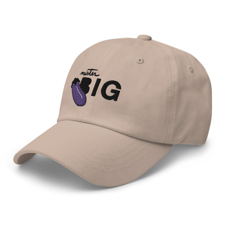 """Cap with a sexy embroidery. It represents an eggplant and the text """"Mister BIG"""". Cap - LGBTQ+ Gay Pride Apparel - classic dad hat stone left front 60af53a6d15f0"""