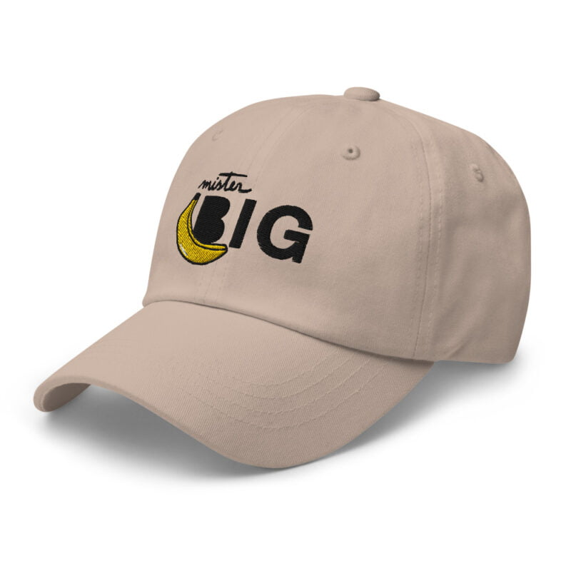 """Cap with a sexy embroidery. It represents a banana and the text """"Mister Big"""". Cap - LGBTQ+ Gay Pride Apparel - classic dad hat stone left front 60af53de5c285"""
