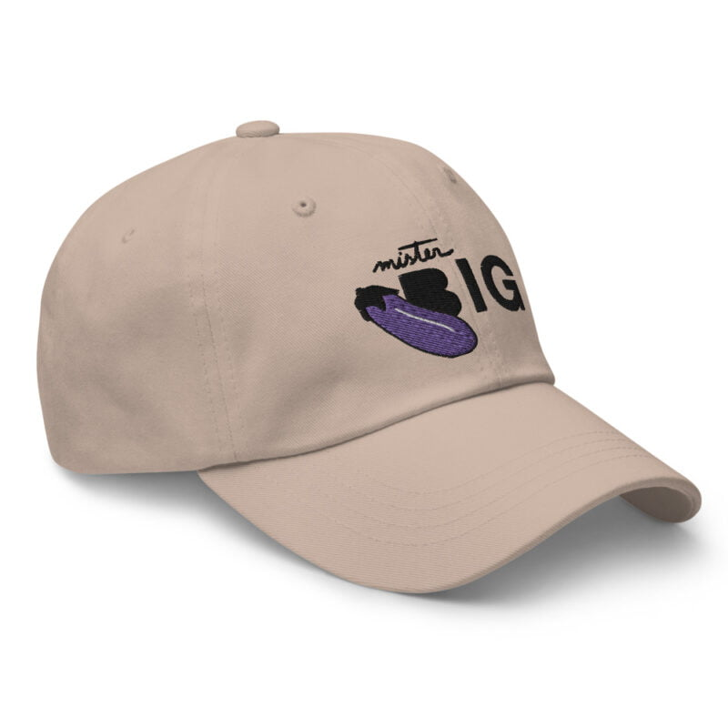 """Cap with a sexy embroidery. It represents an eggplant and the text """"Mister BIG"""". Cap - LGBTQ+ Gay Pride Apparel - classic dad hat stone right front 60af53a6d1543"""
