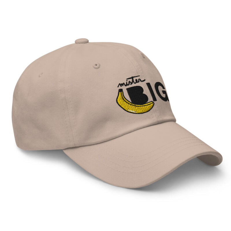 """Cap with a sexy embroidery. It represents a banana and the text """"Mister Big"""". Cap - LGBTQ+ Gay Pride Apparel - classic dad hat stone right front 60af53de5c15b"""