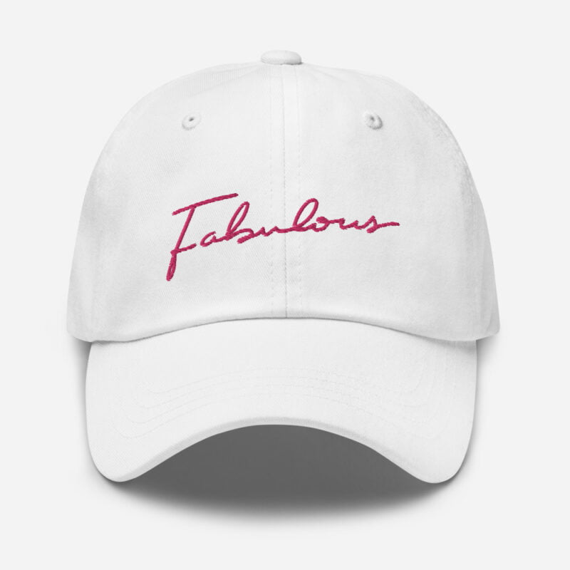 Dad hat with pink embroidery. The word Fabulous is handwritten on this cap. Cap - LGBTQ+ Gay Pride Apparel - classic dad hat white front 60a2b95e97fad