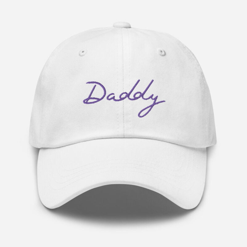 Dad hat with a large embroidery. The word Daddy is embroidered. The color of the embroidery may depend of the hat's color. Cap - LGBTQ+ Gay Pride Apparel - classic dad hat white front 60a2bc8687f47
