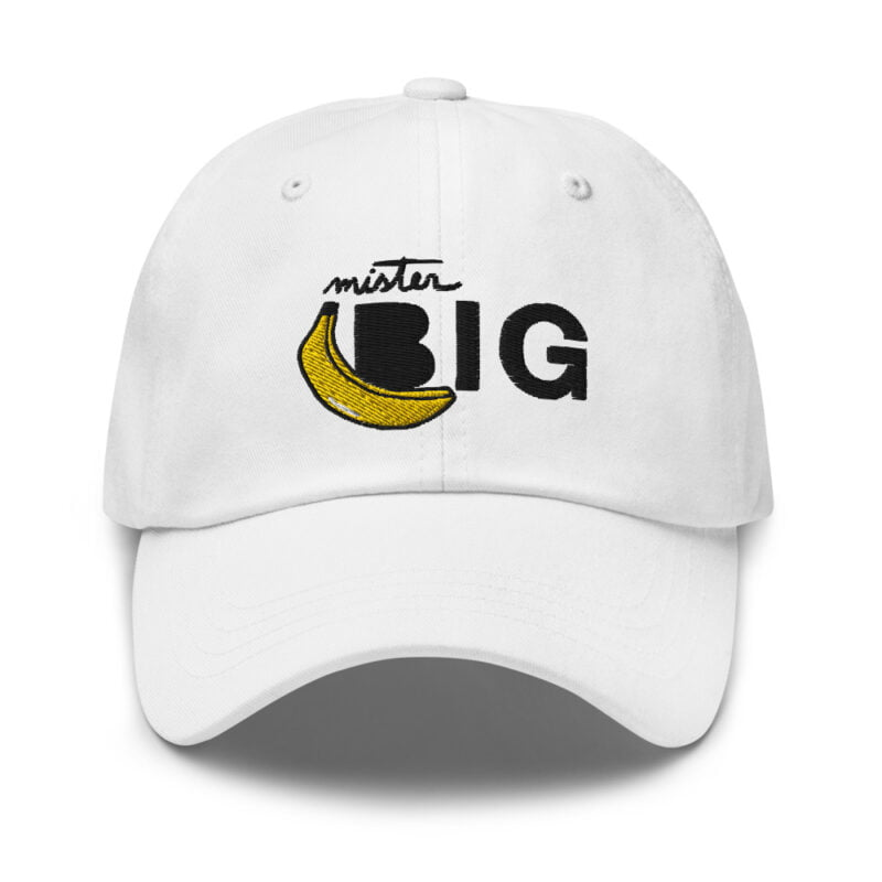 """Cap with a sexy embroidery. It represents a banana and the text """"Mister Big"""". Cap - LGBTQ+ Gay Pride Apparel - classic dad hat white front 60af53de5b51a"""
