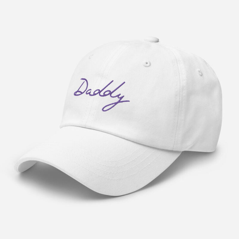 Dad hat with a large embroidery. The word Daddy is embroidered. The color of the embroidery may depend of the hat's color. Cap - LGBTQ+ Gay Pride Apparel - classic dad hat white left front 60a2bc868817e