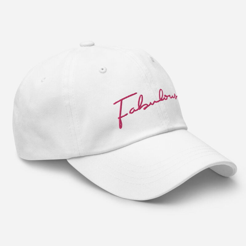 Dad hat with pink embroidery. The word Fabulous is handwritten on this cap. Cap - LGBTQ+ Gay Pride Apparel - classic dad hat white right front 60a2b95e98181