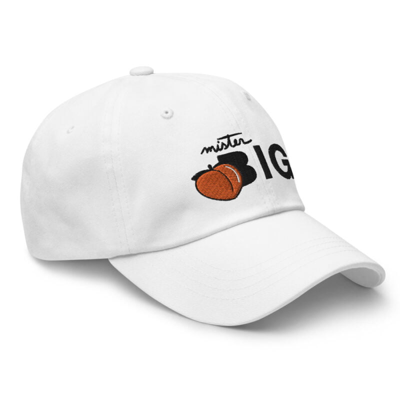 """Cap made for the members of the big booty club. It represents an embroidery of a peach and the text """"Mister BIG"""". Cap - LGBTQ+ Gay Pride Apparel - classic dad hat white right front 60af536016a30"""