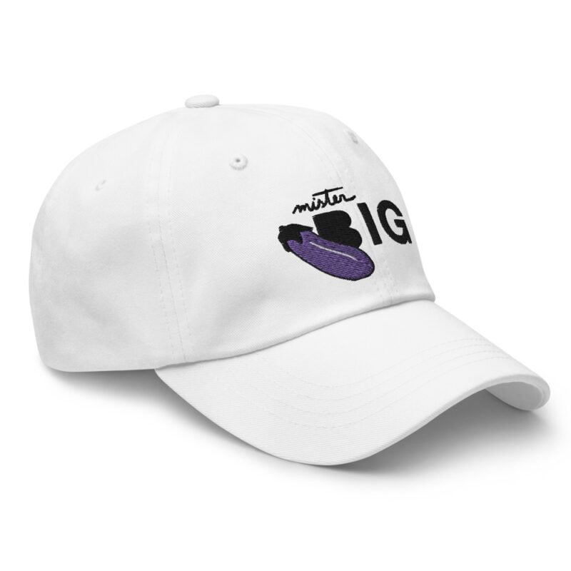 """Cap with a sexy embroidery. It represents an eggplant and the text """"Mister BIG"""". Cap - LGBTQ+ Gay Pride Apparel - classic dad hat white right front 60af53a6d16f3"""