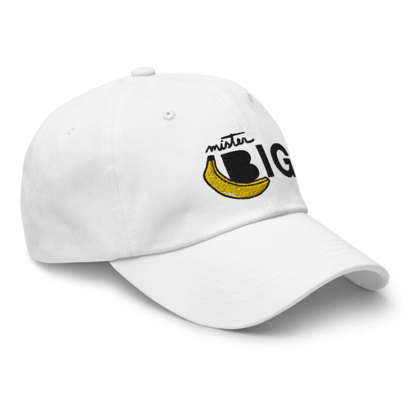 """Cap with a sexy embroidery. It represents a banana and the text """"Mister Big"""". Cap - LGBTQ+ Gay Pride Apparel - classic dad hat white right front 60af53de5c465"""