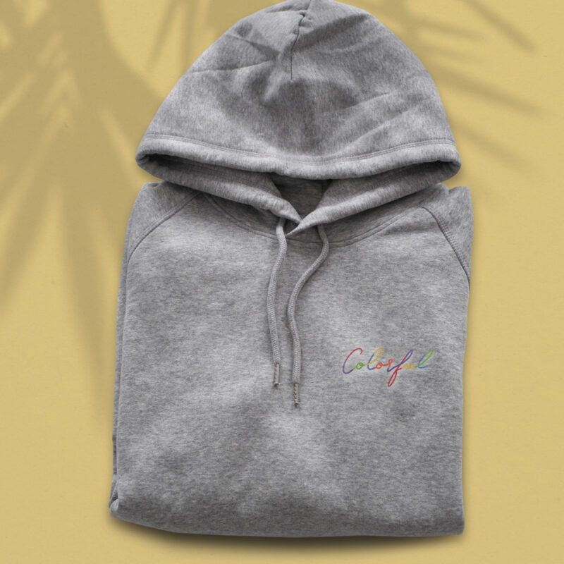 Hoodie with an handwritten embroidery on the left chest. This hoodie has the word Colorful embroidered in rainbow colors. Hoodies - LGBTQ+ Gay Pride Apparel - colorful embroidery hoodie 1