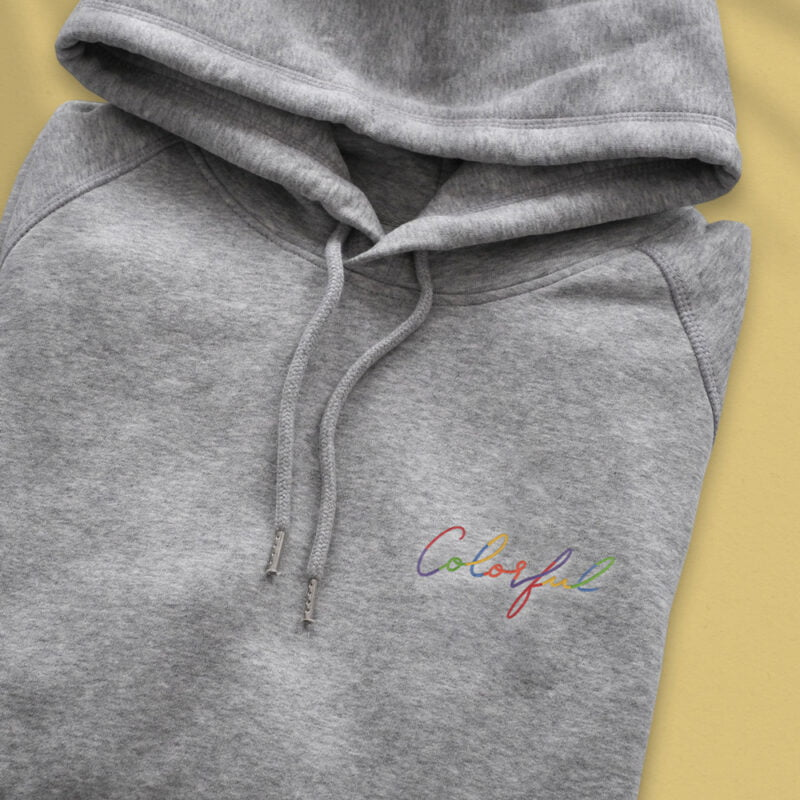 Hoodie with an handwritten embroidery on the left chest. This hoodie has the word Colorful embroidered in rainbow colors. Hoodies - LGBTQ+ Gay Pride Apparel - colorful embroidery hoodie 2