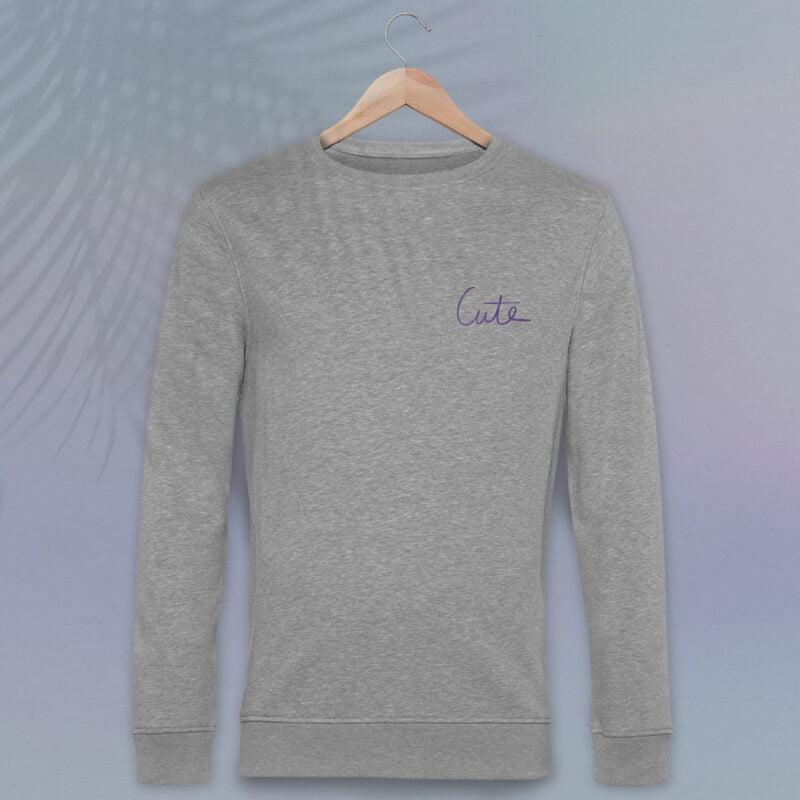 Regular fit Premium sweat with purple embroidery on the left chest. The word Cute is handwritten. Sweats - LGBTQ+ Gay Pride Apparel - cute premium 1
