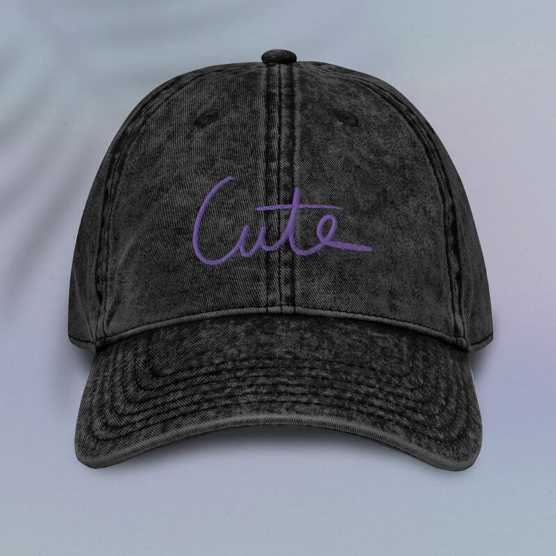 Vintage dad hat with the word Cute embroidered in purple or white. Cap - LGBTQ+ Gay Pride Apparel - cute vintage cap