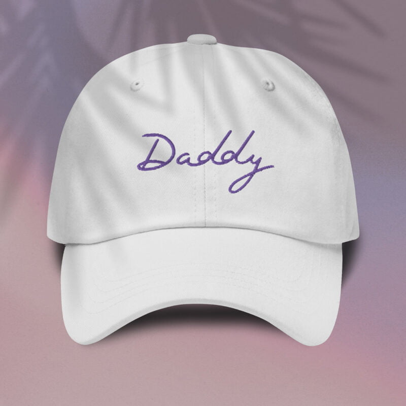Dad hat with a large embroidery. The word Daddy is embroidered. The color of the embroidery may depend of the hat's color. Cap - LGBTQ+ Gay Pride Apparel - daddy cap