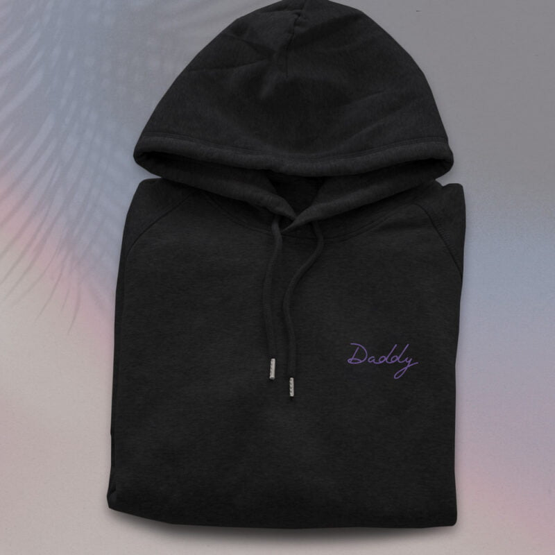 Hoodie with an embroidery on the chest. The word Daddy is handwritten in purple letters. Hoodies - LGBTQ+ Gay Pride Apparel - daddy embroidery hoodie 1