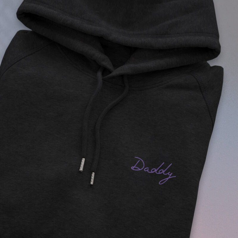 Hoodie with an embroidery on the chest. The word Daddy is handwritten in purple letters. Hoodies - LGBTQ+ Gay Pride Apparel - daddy embroidery hoodie 2