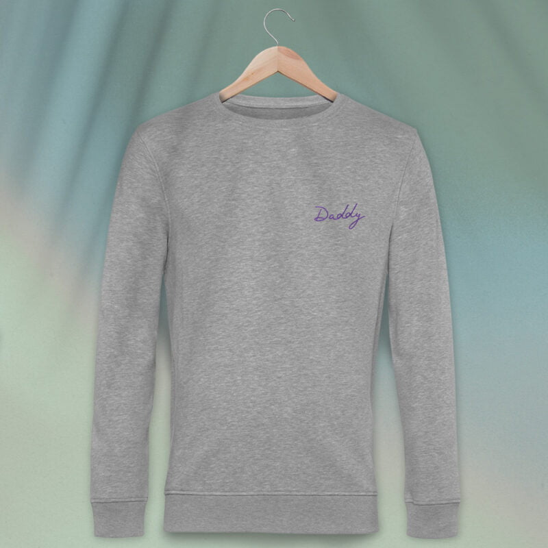 Regular fit sweat with embroidery on the chest. The word Daddy in handwritten in purple letters. Sweats - LGBTQ+ Gay Pride Apparel - daddy premium 1