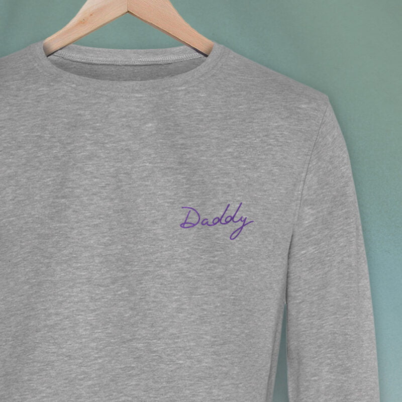 Regular fit sweat with embroidery on the chest. The word Daddy in handwritten in purple letters. Sweats - LGBTQ+ Gay Pride Apparel - daddy premium 2
