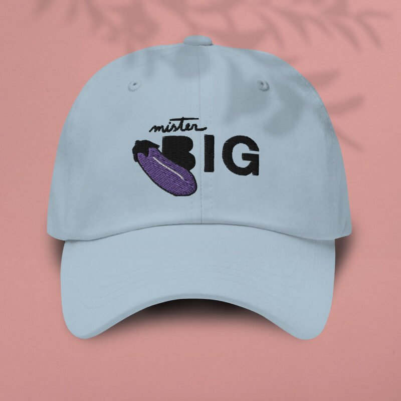 """Cap with a sexy embroidery. It represents an eggplant and the text """"Mister BIG"""". Cap - LGBTQ+ Gay Pride Apparel - eggplant casquette 1"""
