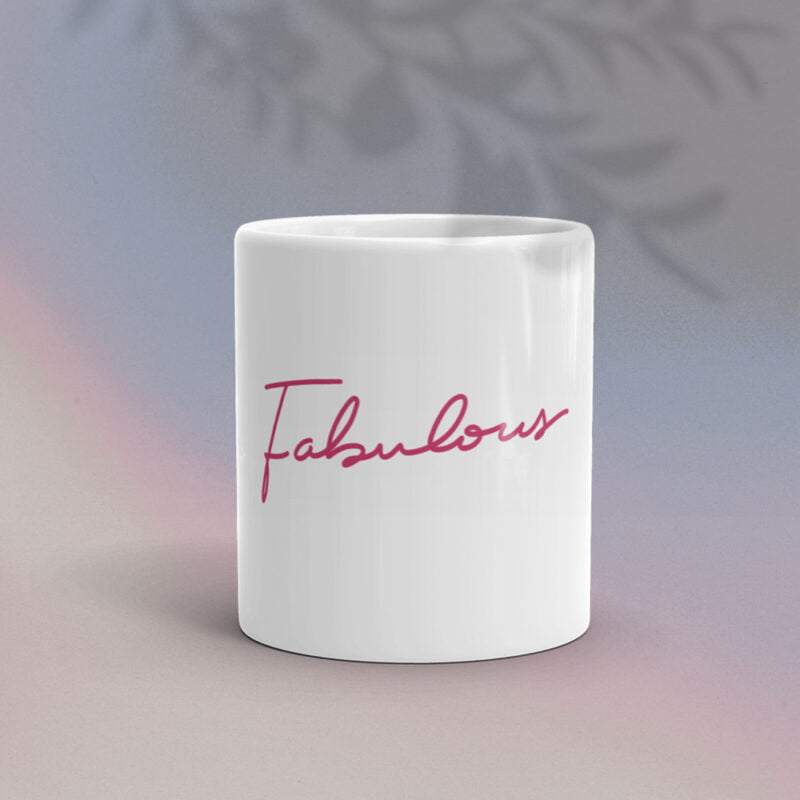 """Ceramic mug with the text """"Fabulous"""" printed in pink letters. Mug available in 2 sizes. Mugs - LGBTQ+ Gay Pride Apparel - fab mug 1"""