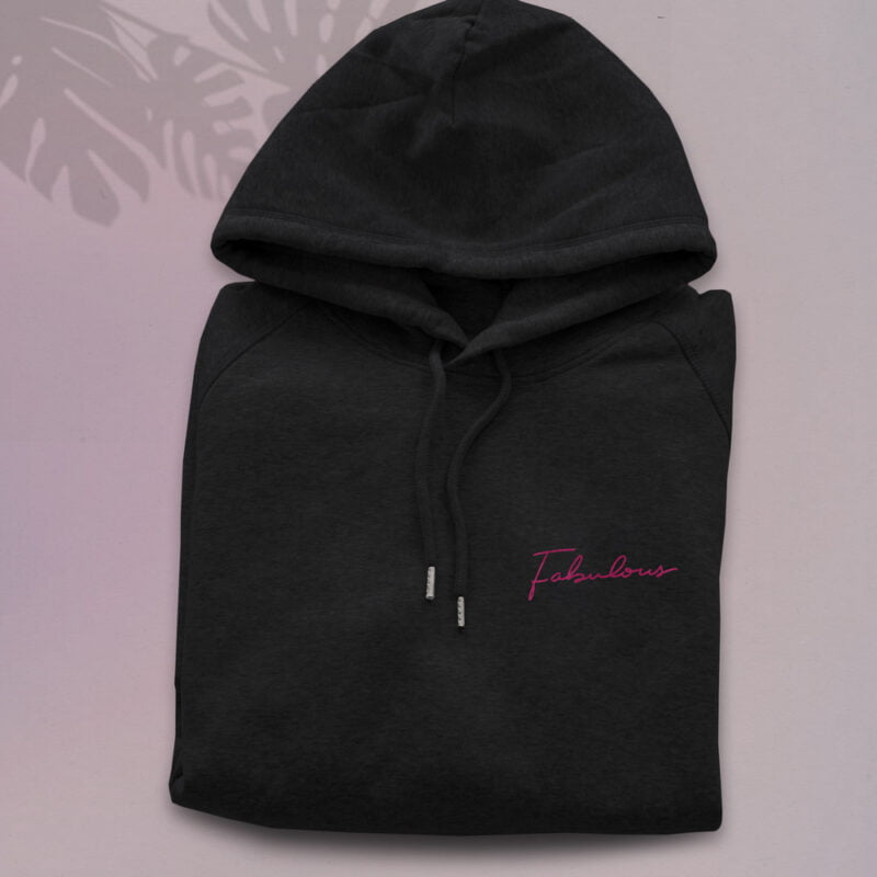 Premium quality hoodie with en embroidery on the chest. Fabulous is handwritten in pink letters. Hoodies - LGBTQ+ Gay Pride Apparel - fabulous hoodie 1