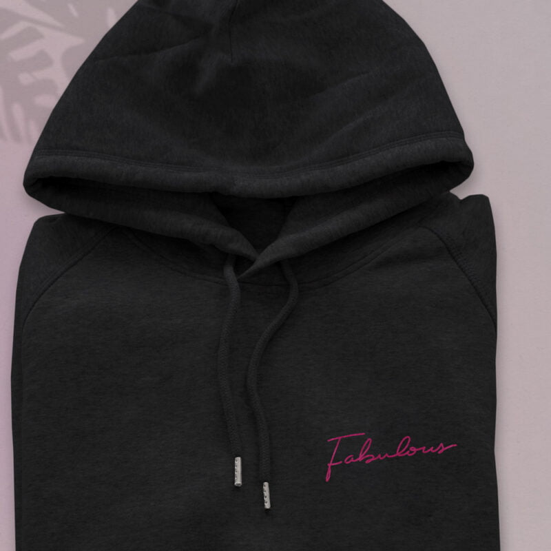 Premium quality hoodie with en embroidery on the chest. Fabulous is handwritten in pink letters. Hoodies - LGBTQ+ Gay Pride Apparel - fabulous hoodie 2