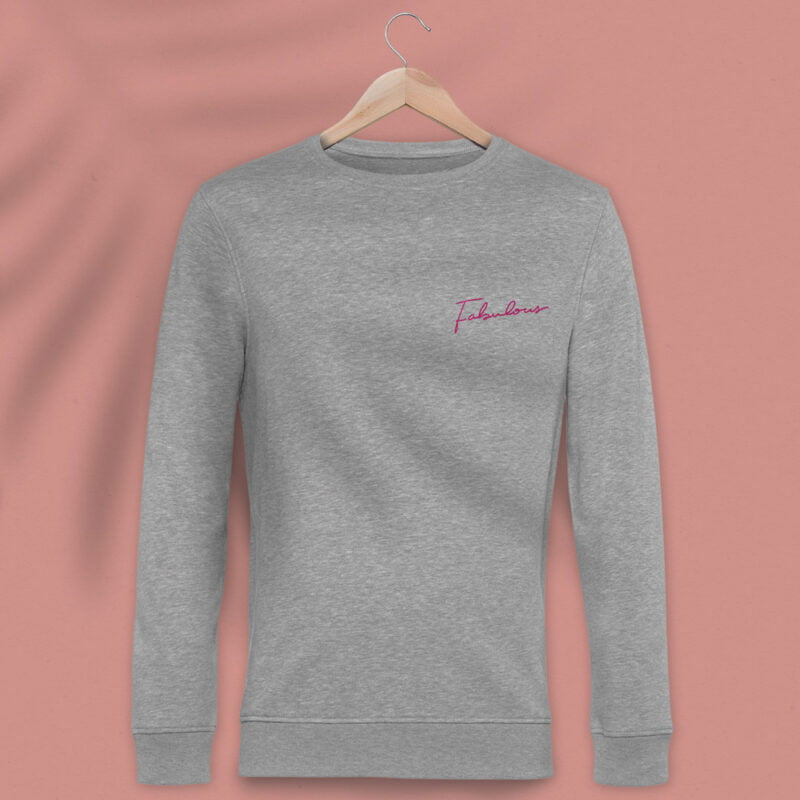 Regular fit sweat with an handwritten embroidery. This embroidery is the word Fabulous in pink color. Sweats - LGBTQ+ Gay Pride Apparel - fabulous premium 1