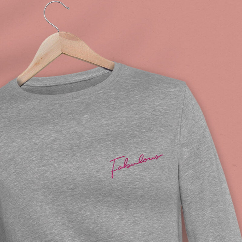 Regular fit sweat with an handwritten embroidery. This embroidery is the word Fabulous in pink color. Sweats - LGBTQ+ Gay Pride Apparel - fabulous premium 2