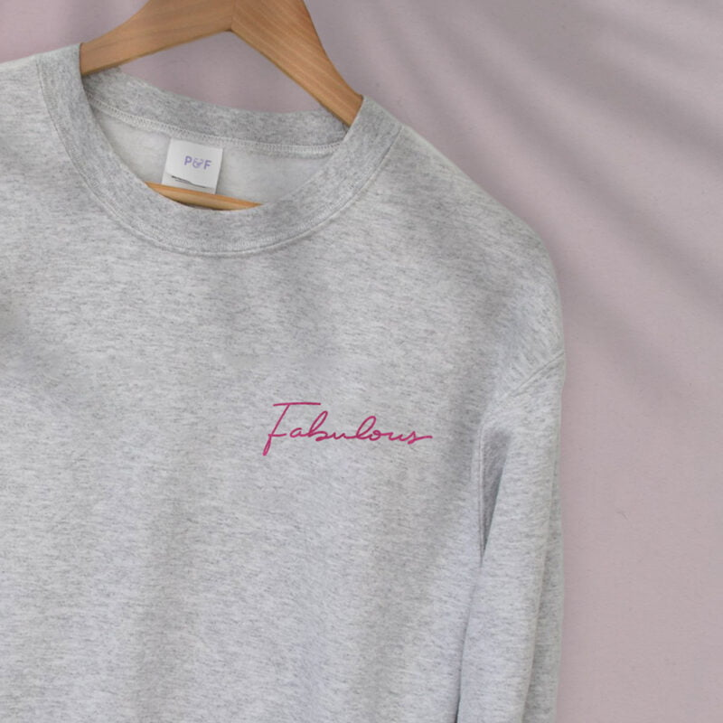 Relax fit sweat with the word fabulous embroidered on the left chest. This word is written in a pink color and an handwriting style. Sweats - LGBTQ+ Gay Pride Apparel - fabulous relax 2