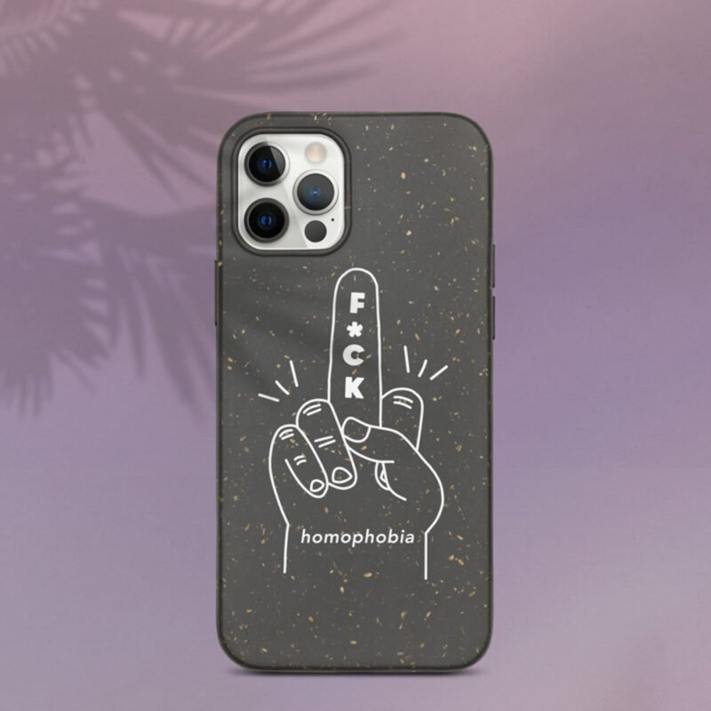 iPhone case with a hand making the f*ck sign. The message of this case is F*ck homophobia. This case is eco-friendly and 100% biodegradable. Phone Cases - LGBTQ+ Gay Pride Apparel - fuck case 1