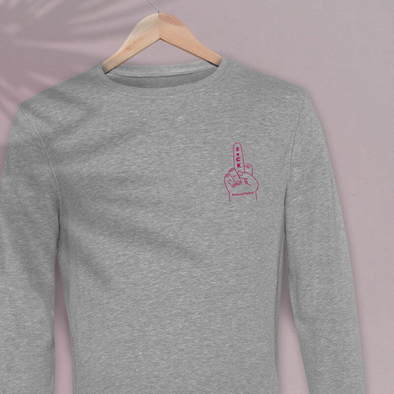 Regular sweat with a pink hand making the f*ck sign embroidered on the chest. This sweat shows an anti homophobia message. Sweats - LGBTQ+ Gay Pride Apparel - fuck sweat 2 2