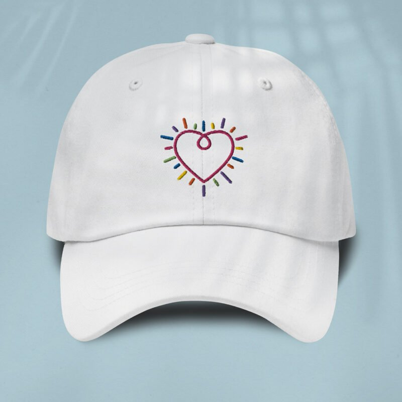 Dad hat with a heart embroidered. The heart is made from the 6 colors of the LGBT flag. Cap - LGBTQ+ Gay Pride Apparel - heart cap