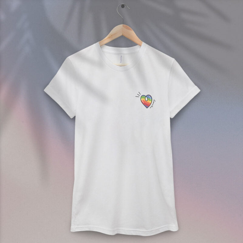 """T-shirt with a rainbow heart printed on the left chest. The sentence """"Love is love"""" is written next to the heart. T-shirts - LGBTQ+ Gay Pride Apparel - heart loveislove 1"""