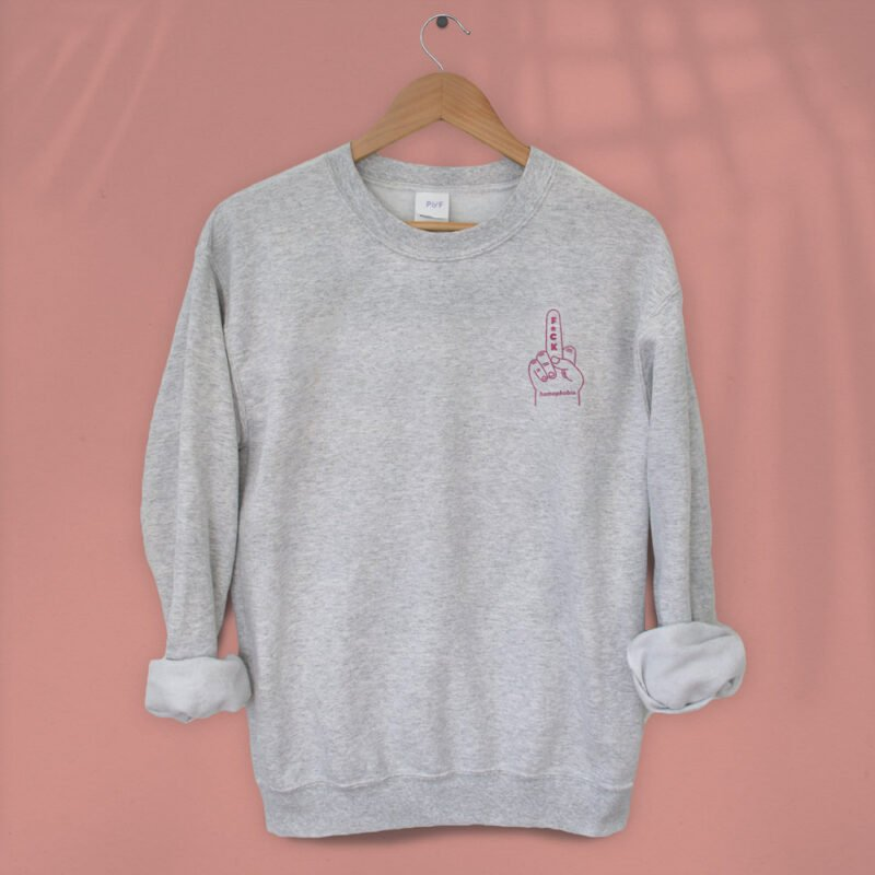 """Relax fit sweat with an anti homophobia message embroidered on the left chest. """"F*ck homophobia"""" is written in pink letters. Sweats - LGBTQ+ Gay Pride Apparel - homophobia relax 1"""