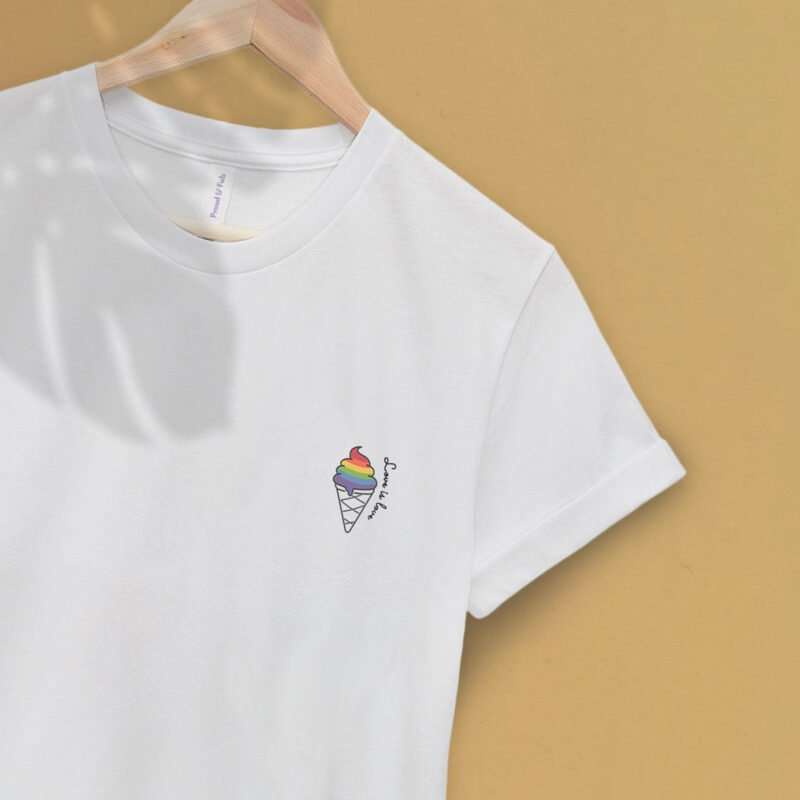 """T-shirt with a drawing of a rainbow ice cream printed on the chest. The sentence """"Love is love"""" is written just next to the ice cream. T-shirts - LGBTQ+ Gay Pride Apparel - ice loveislove 2"""