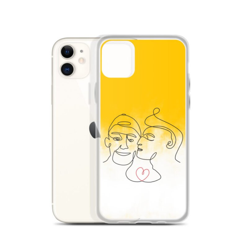Phone case with 2 men kissing in front of a yellow gradient. The design is made from a single pencil line. A red heart connect the two lovers. Phone Cases - LGBTQ+ Gay Pride Apparel - iphone case iphone 11 case with phone 6097b2d7b36a1
