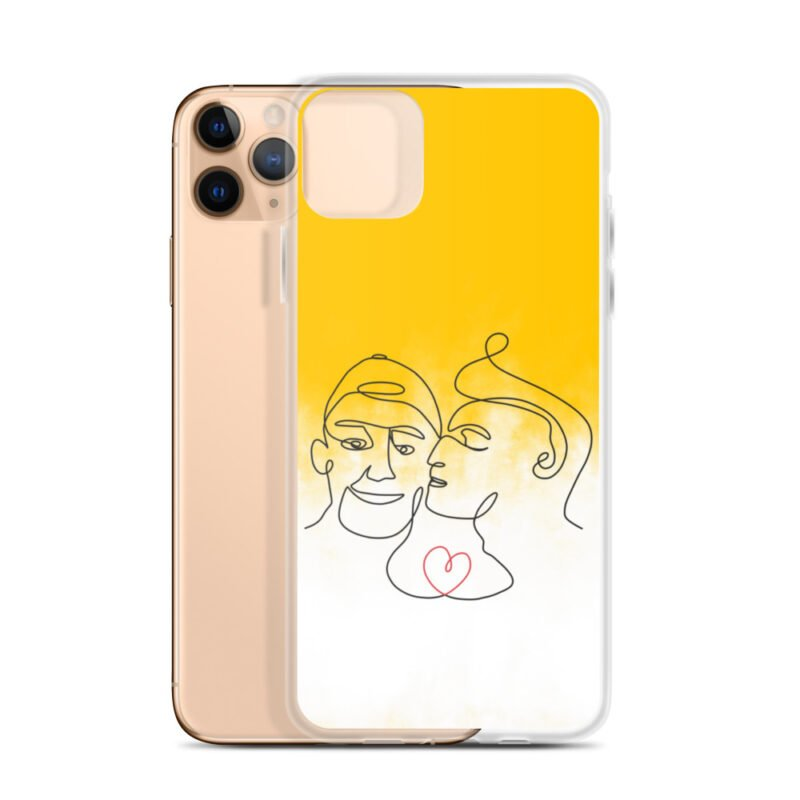Phone case with 2 men kissing in front of a yellow gradient. The design is made from a single pencil line. A red heart connect the two lovers. Phone Cases - LGBTQ+ Gay Pride Apparel - iphone case iphone 11 pro max case with phone 6097b2d7b3948