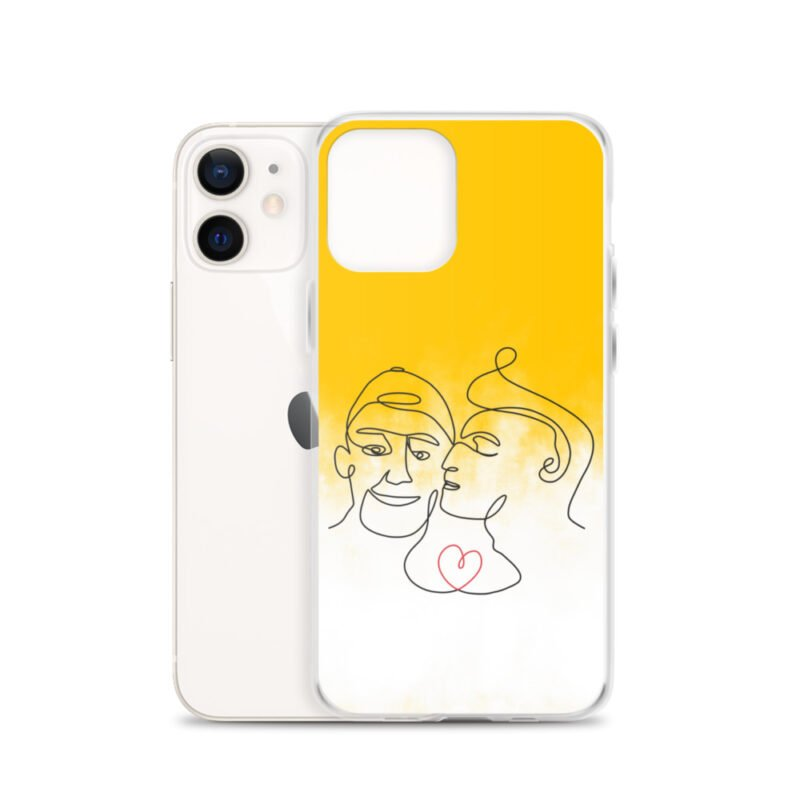 Phone case with 2 men kissing in front of a yellow gradient. The design is made from a single pencil line. A red heart connect the two lovers. Phone Cases - LGBTQ+ Gay Pride Apparel - iphone case iphone 12 case with phone 6097b2d7b39b5