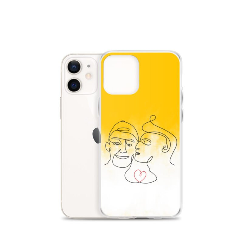 Phone case with 2 men kissing in front of a yellow gradient. The design is made from a single pencil line. A red heart connect the two lovers. Phone Cases - LGBTQ+ Gay Pride Apparel - iphone case iphone 12 mini case with phone 6097b2d7b3a22
