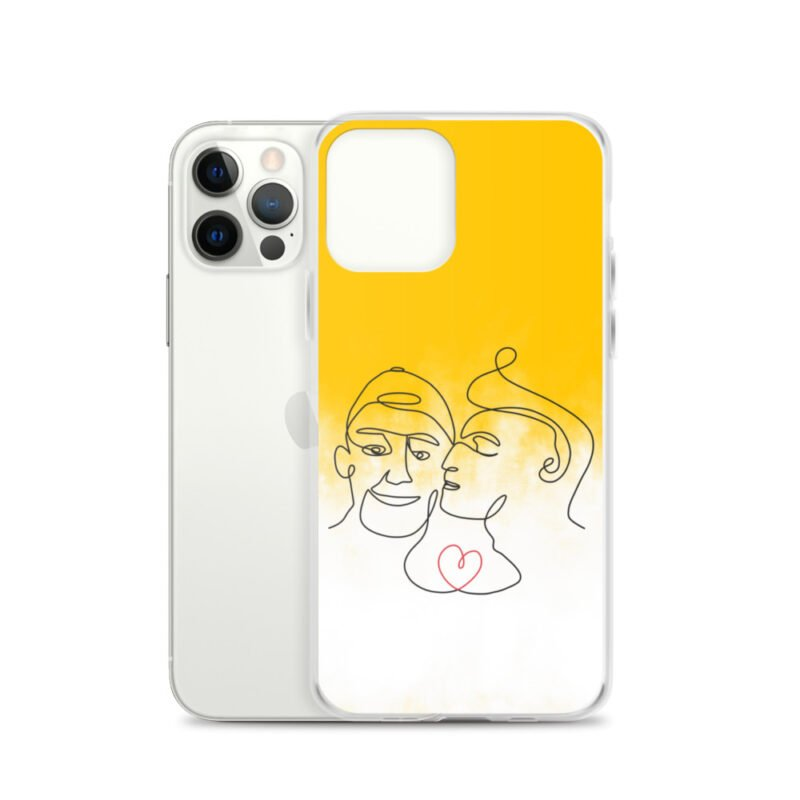 Phone case with 2 men kissing in front of a yellow gradient. The design is made from a single pencil line. A red heart connect the two lovers. Phone Cases - LGBTQ+ Gay Pride Apparel - iphone case iphone 12 pro case with phone 6097b2d7b3a94