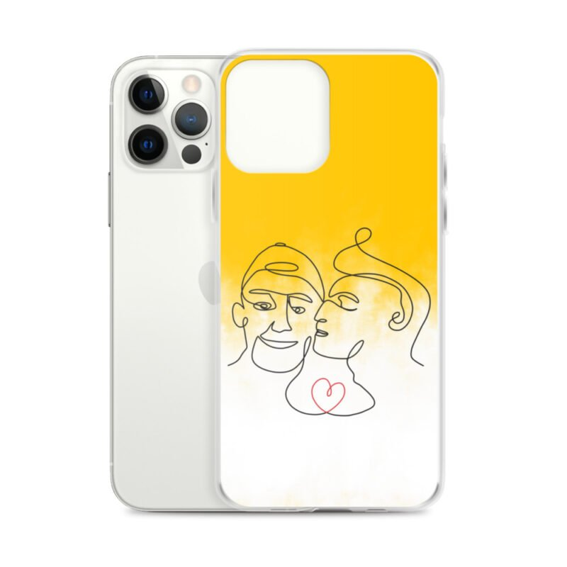 Phone case with 2 men kissing in front of a yellow gradient. The design is made from a single pencil line. A red heart connect the two lovers. Phone Cases - LGBTQ+ Gay Pride Apparel - iphone case iphone 12 pro max case with phone 6097b2d7b3aff