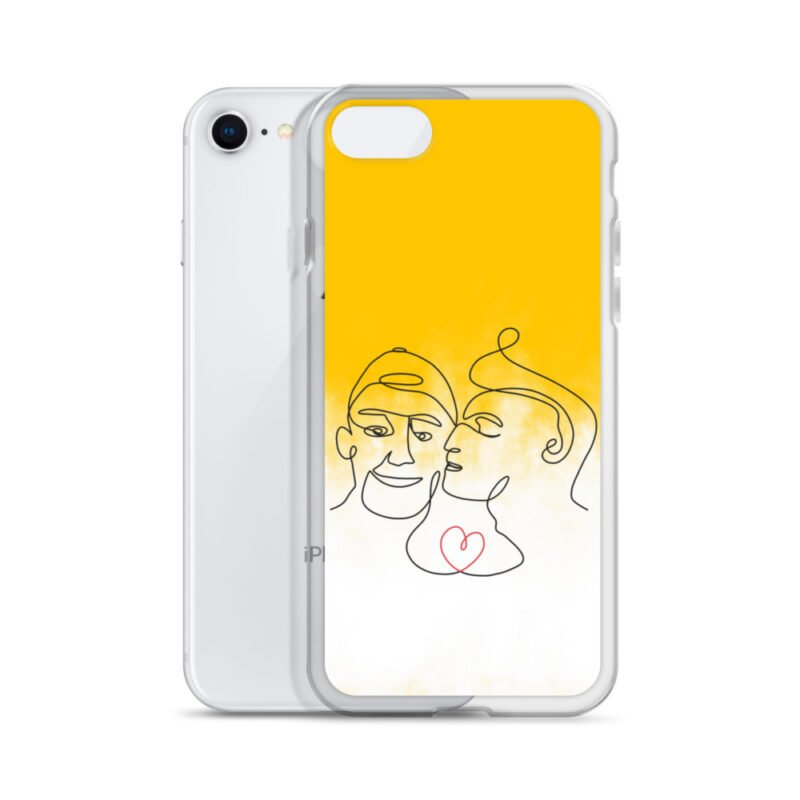 Phone case with 2 men kissing in front of a yellow gradient. The design is made from a single pencil line. A red heart connect the two lovers. Phone Cases - LGBTQ+ Gay Pride Apparel - iphone case iphone 7 8 case with phone 6097b2d7b3bcf