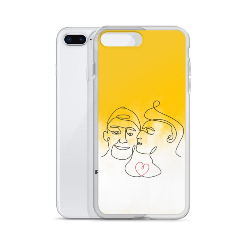 Phone case with 2 men kissing in front of a yellow gradient. The design is made from a single pencil line. A red heart connect the two lovers. Phone Cases - LGBTQ+ Gay Pride Apparel - iphone case iphone 7 plus 8 plus case with phone 6097b2d7b3b71