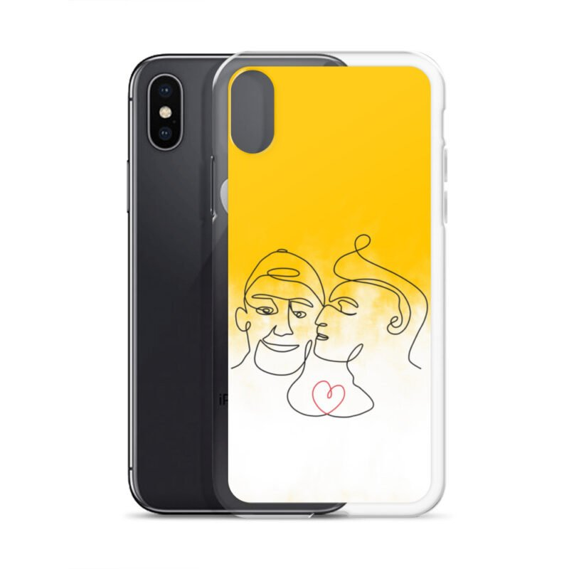 Phone case with 2 men kissing in front of a yellow gradient. The design is made from a single pencil line. A red heart connect the two lovers. Phone Cases - LGBTQ+ Gay Pride Apparel - iphone case iphone x xs case with phone 6097b2d7b3c89